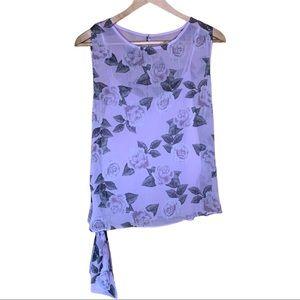 Rachel Roy Floral Side Tie Blouse Size Large
